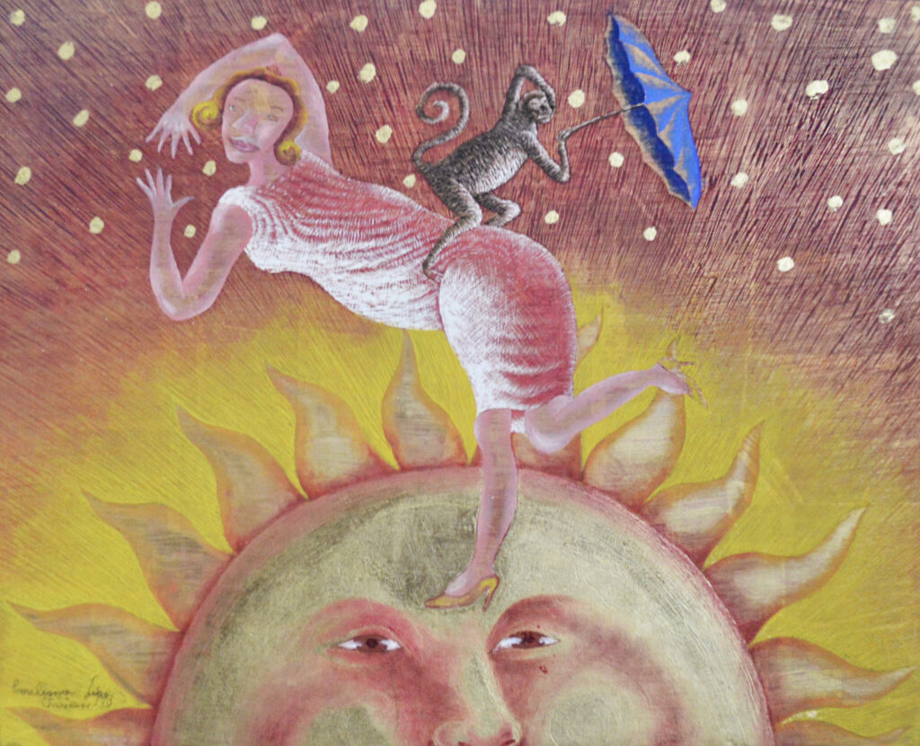 """Sol""  |  Emiliano López  |  Hoja de oro s/ cedro20 x 25 cm"