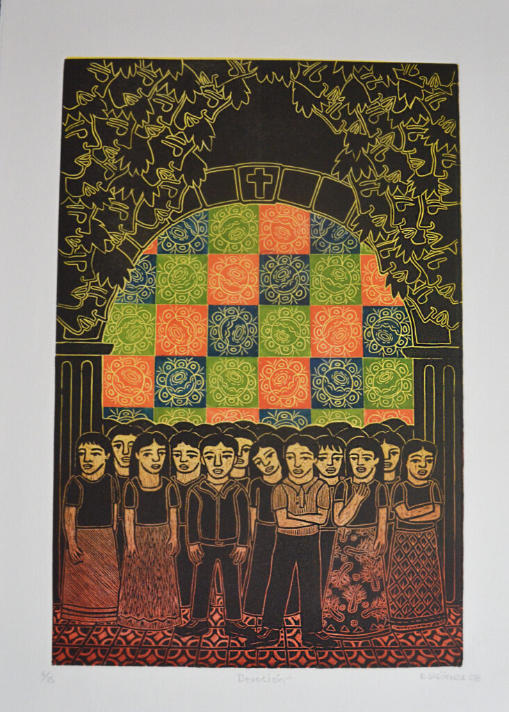 """Devoción""  |  Rolando Sigüenza  |   Grabado: Impresión 60 x 40 cm; Papel 75 x 54 cm"