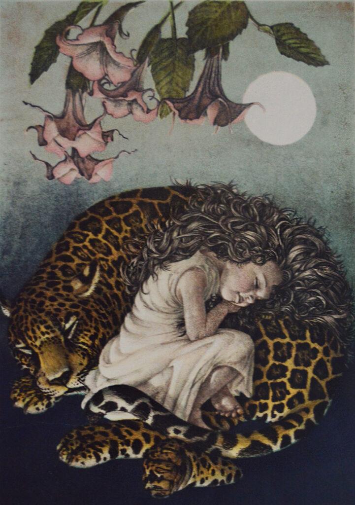 """""""Durmiendo sobre un dios""""     Daniel Barraza      Litografía: Impresión 47 x 33 cm; Papel 56 x 38 cm"""