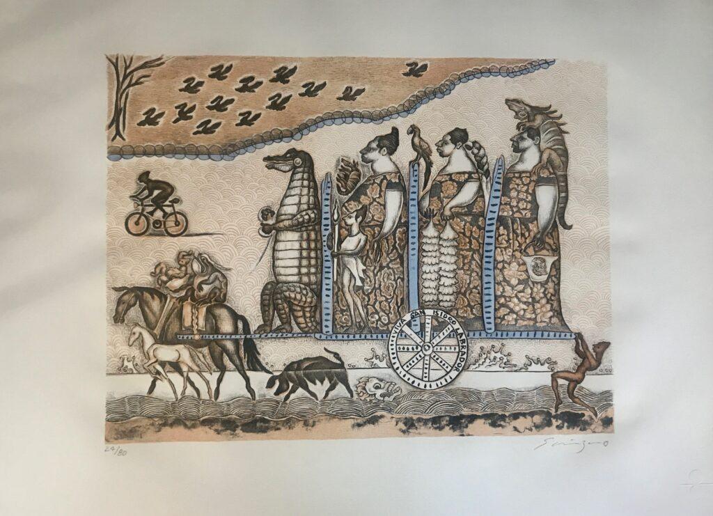 """Viva San Isidro labrador azul"", Litografía, Medidas: 40 x 53 cm, papel: 56 x 76 cm."