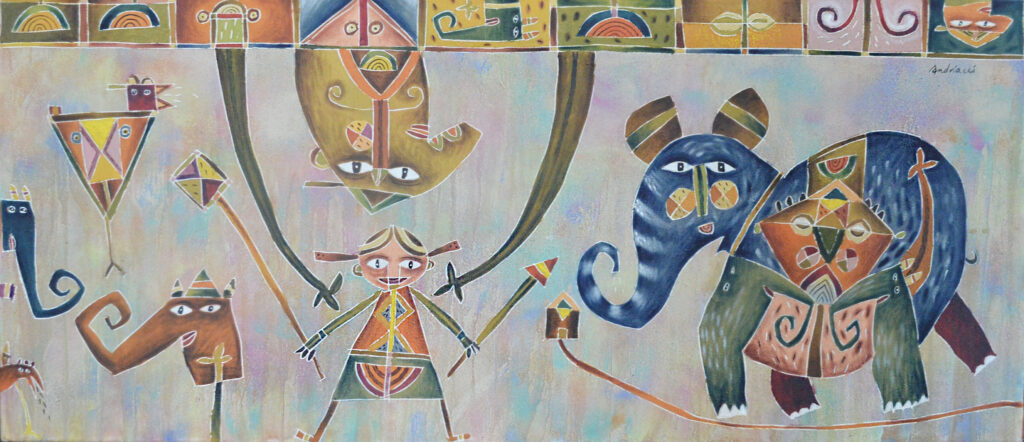"""Sin título""  |  Fernando Andriacci.   |   Óleo sobre tela 70 x 160 cm"