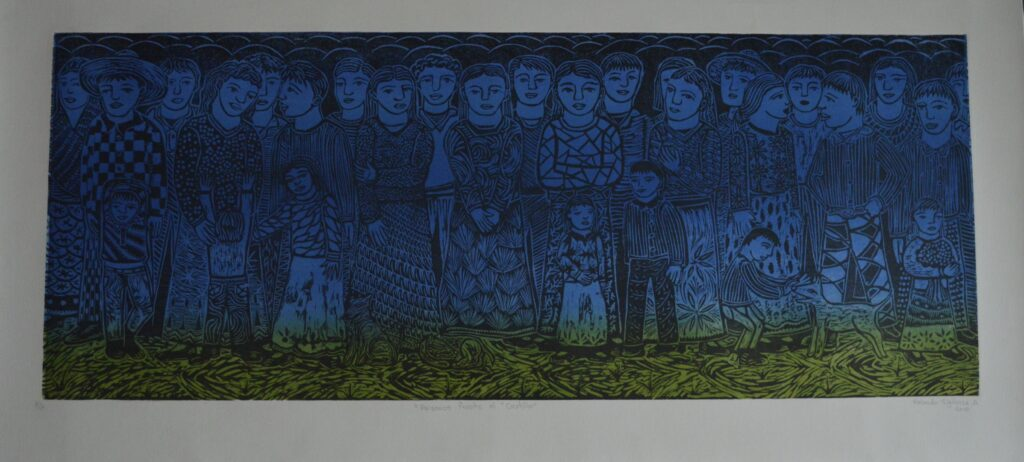 """Paisaje frente al castillo""  |    Rolando Sigüenza.  |    Xylografía: Impresión 109 x 43 cm; Papel 123 x 57 cm"