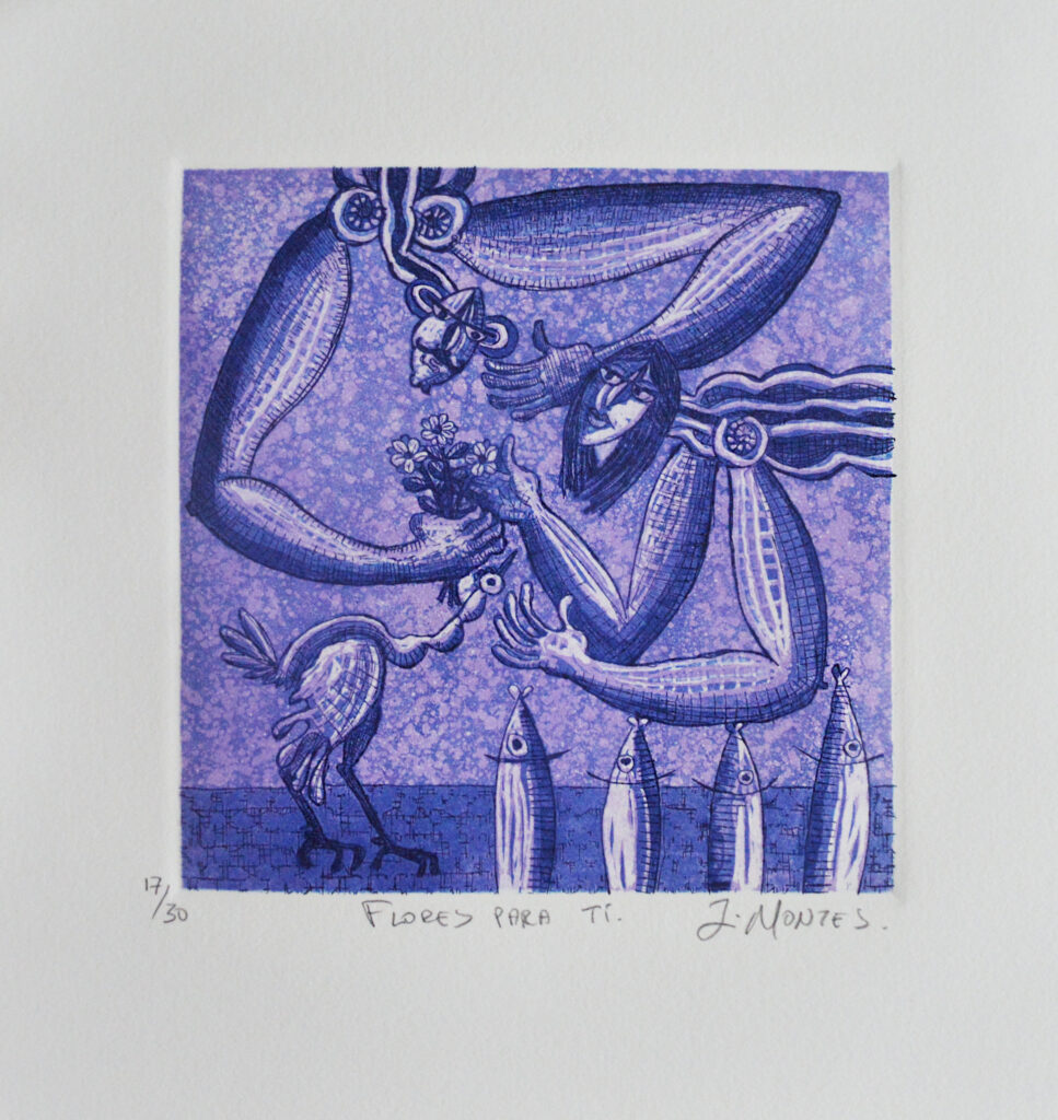 """Flores para ti""  |  Ixrael Montes.   |  Grabado: Impresión 18 x 18 cm; Papel 29 x 28 cm"