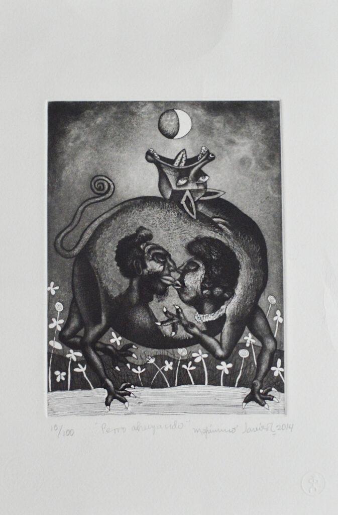 """""""Perro ahuyando""""     Maximino Javier. Grabado: Impresión 18 x 23 cm; Papel 27 x 39 cm"""