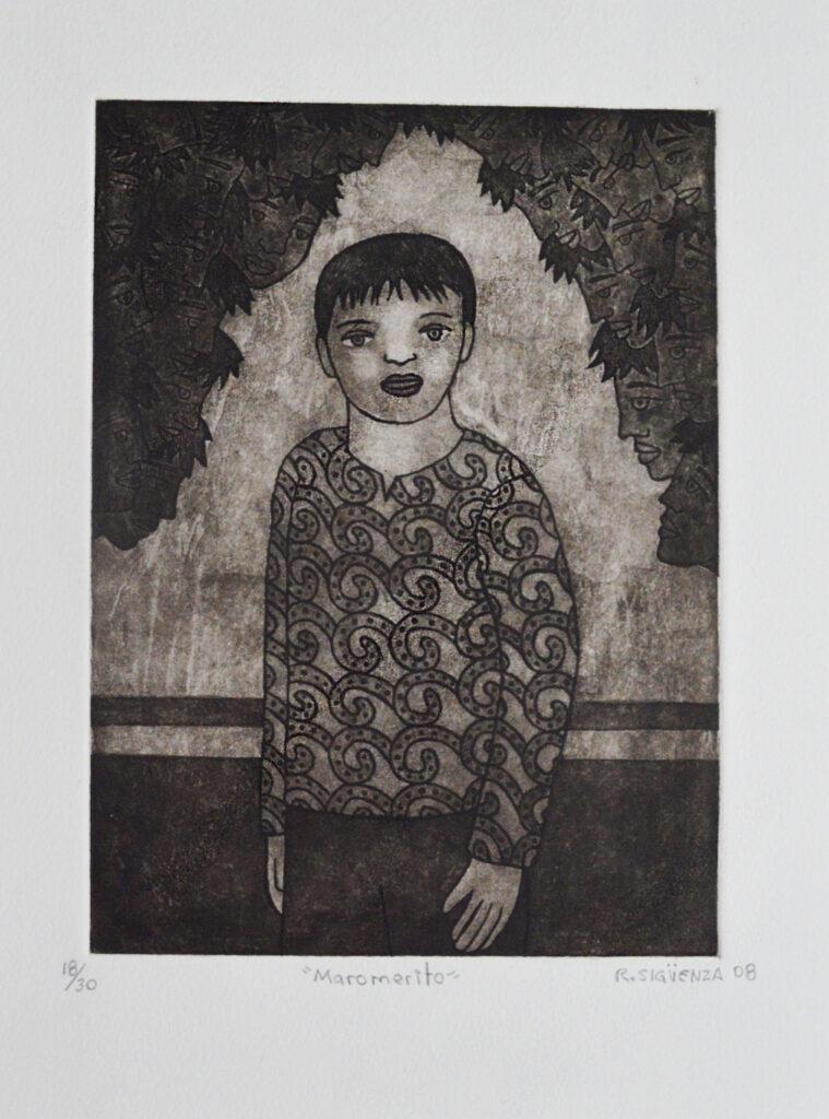 """Rolando Sigüenza. Grabado Impresión 30 x 22 cm. Papel 32 x 42 cm. """"Maromerito"""""""