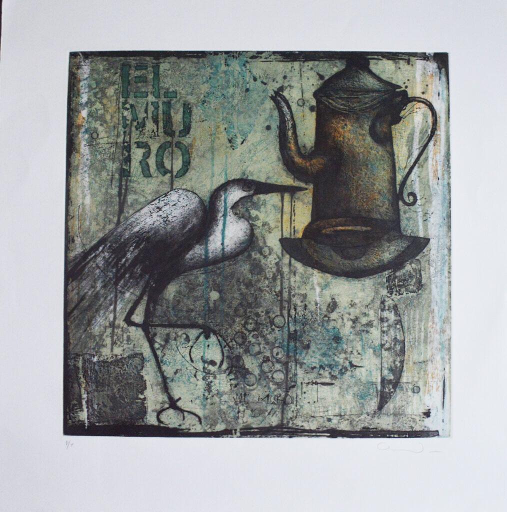 """Amador Montes. Grabado Impresión 50 x 50 cm Papel 68 x 68 cm """"El muro"""""""