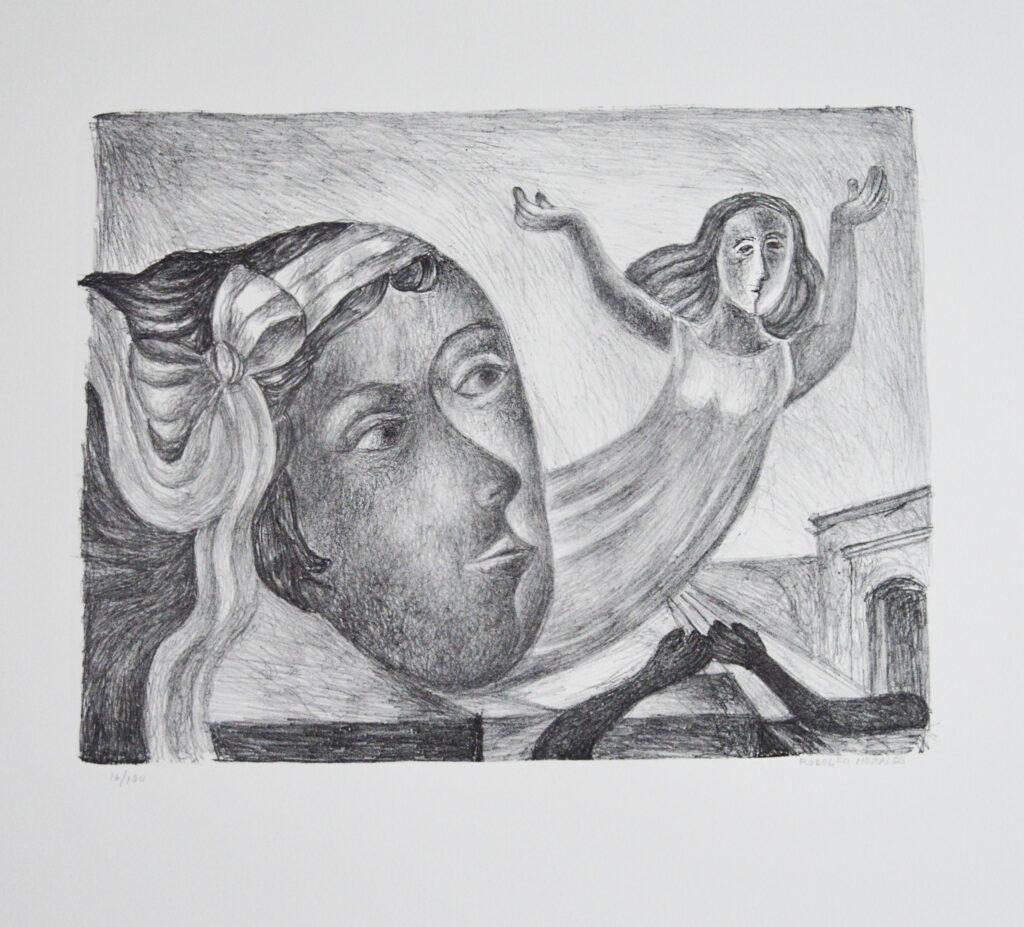 Rodolfo Morales  |   Mujer con moño  |  Litografía b/nPapel 61 x 55 cm; Impresión 33 x 42.5 cm.