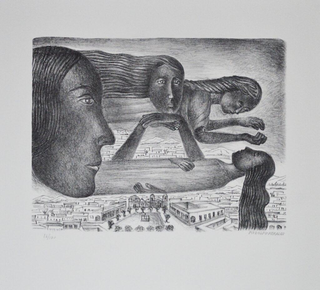 Rodolfo Morales  |   4 mujeres flotando  |   Litografía b/n Papel 61 x 55 cm; Impresión 33 x 42.5 cm.