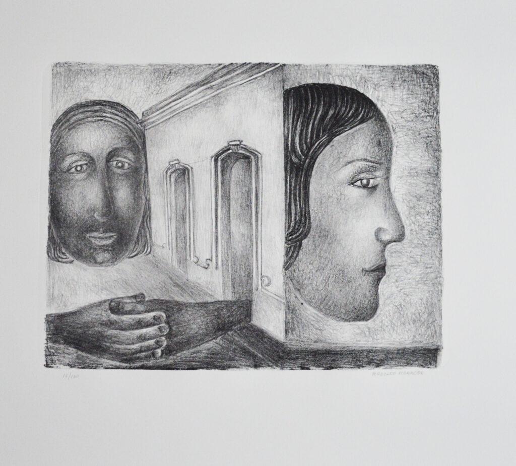 "Rodolfo Morales  |  2 caras. Litografía b/n  Papel 61 x55 cm  |  Impresión 33 x 42.5 cm.  |  ""Carpeta Mujeres IV"""