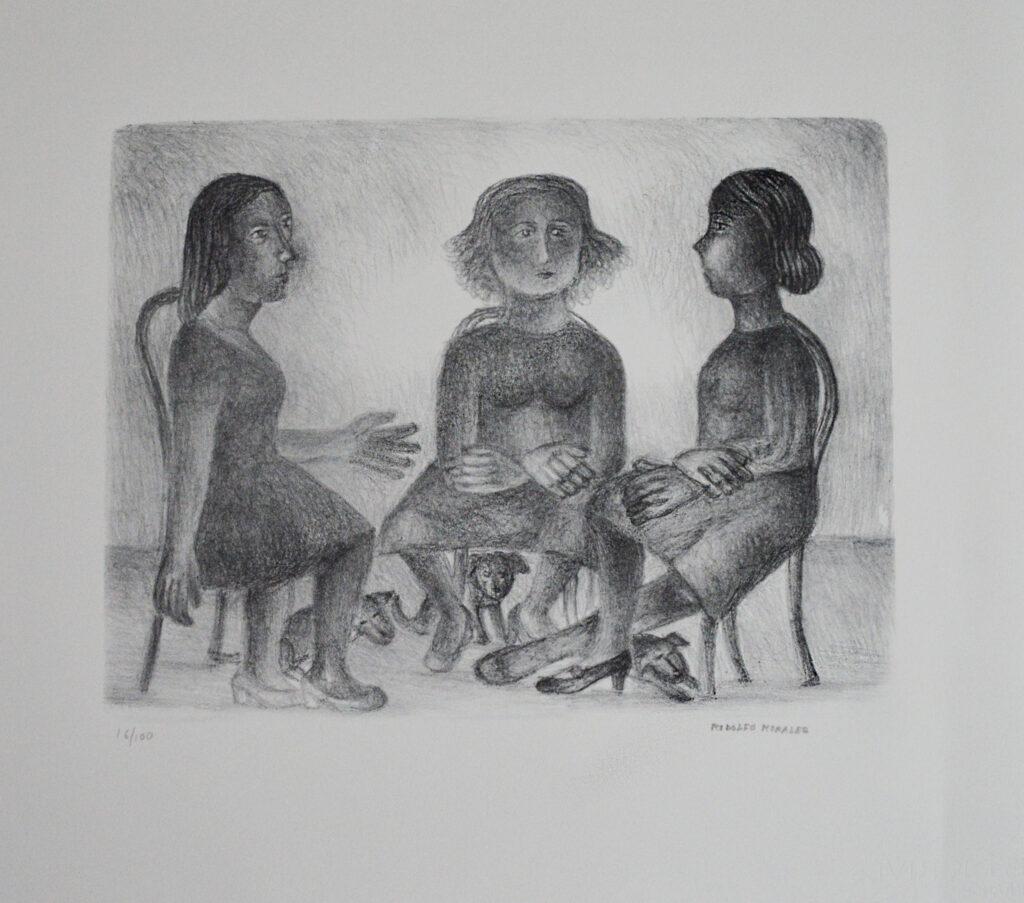 Rodolfo Morales   |  3 mujeres   |   Litografía b/n  Papel 61 x 55 cm  Impresión 33 x 42.5 cm.