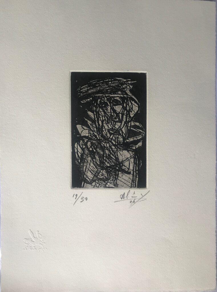 Sin título   |    Alejandro Santiago    |    Grabado en papel   |    Impresión 9 x 15 cm;  Papel 28 x 38 cm