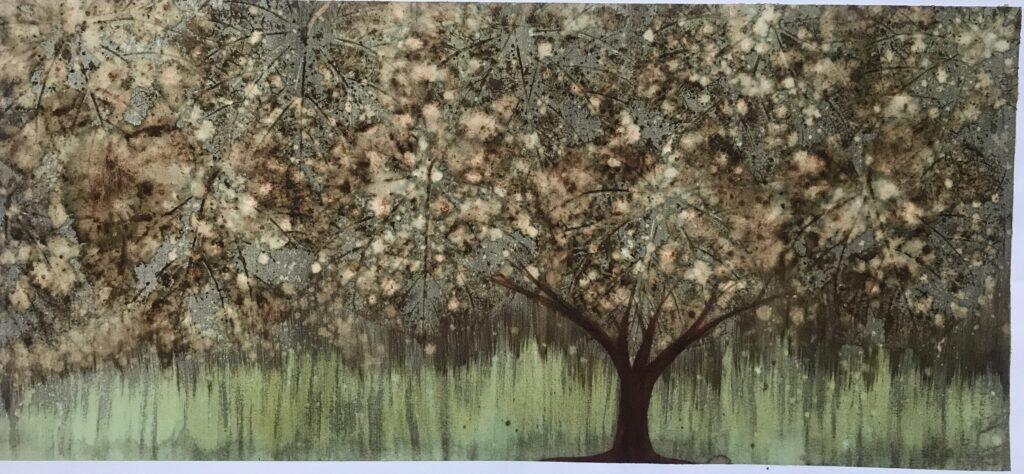 Sin Título Mixta de grana cochinilla sobre papel de algodón  32 x 73 cm