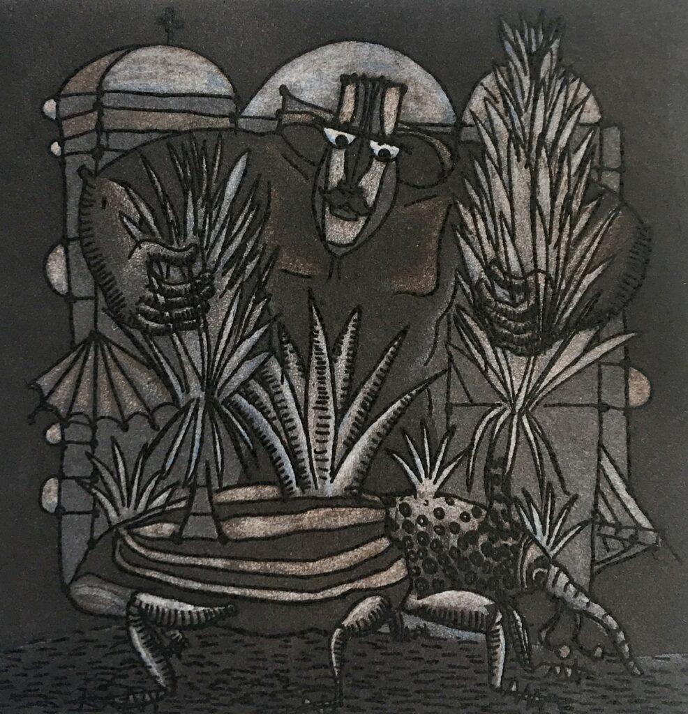 """Ixrael Montes. Grabado Impresión 16 x 15 cm Papel 28 x 25 cm """"Ensamble"""" -Carpeta agaves-"""