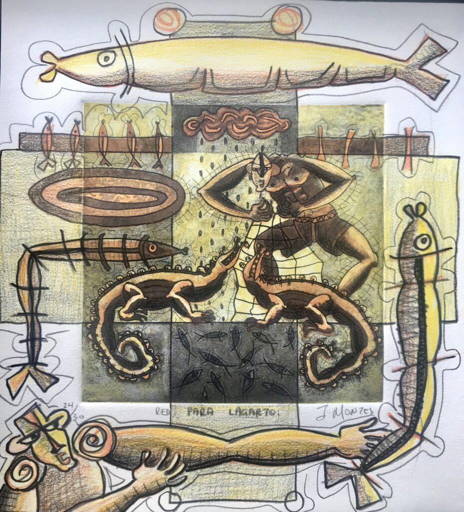 """Ixrael Montes. """"Red para lagarto"""", Gráfica intervenida.  Papel 31 x 34 cm.  Impresión 20 x 20 cm -Carpeta Intervenida-"""