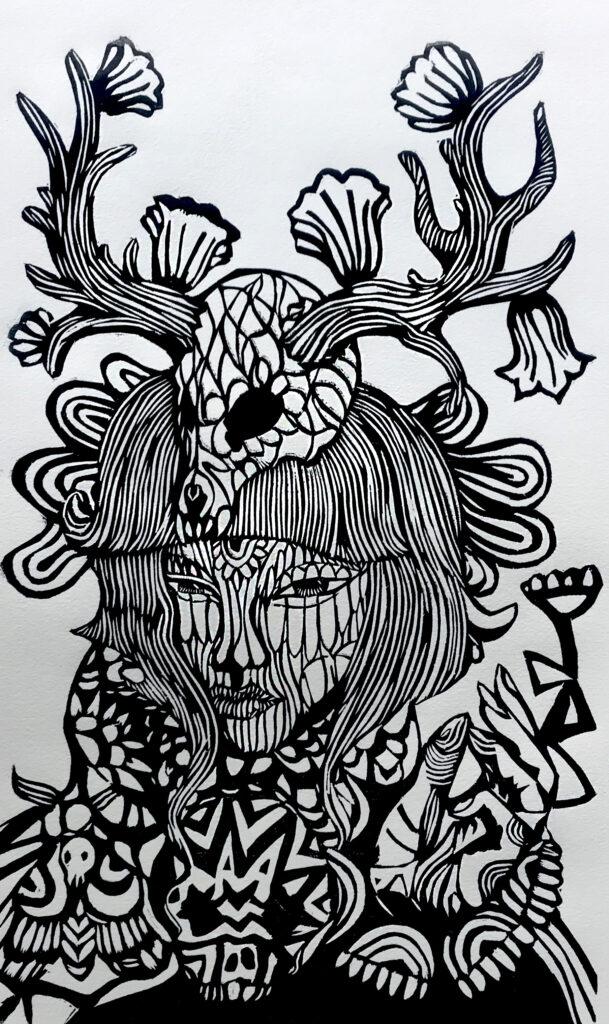 """""""Arte de la flor""""     Issvan Duarte. Xilografía: Impresión 46 x 28 cm; Papel 56 x 38 cm     -Carpeta muerta-"""