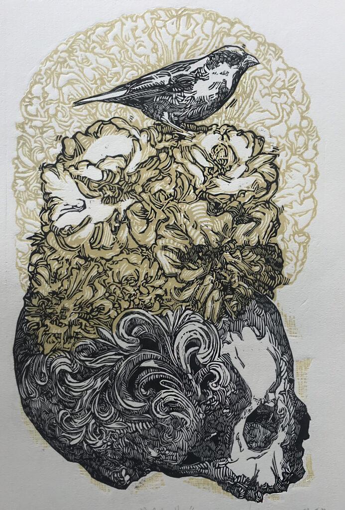 """""""Patzulin""""     Irving Herrera. Xilografía: Impresión 46 x 28 cm; Papel 56 x 38 cm""""    -Carpeta muerta-"""