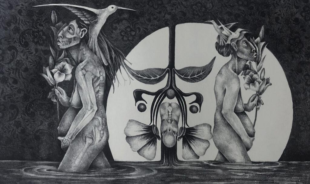 """Tonatiuhichan""     Melva Medina. Litografía: Impresión 28 x 46 cm; Papel 38 x 56 cm""     -Carpeta muerta-"