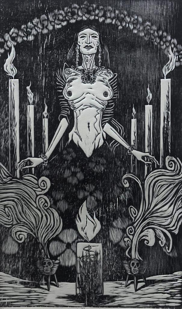 """""""Alegoría""""     Gabino Morales.    Xilografía: Impresión 46 x 28 cm; Papel 56 x 38 cm    -Carpeta muerta-"""