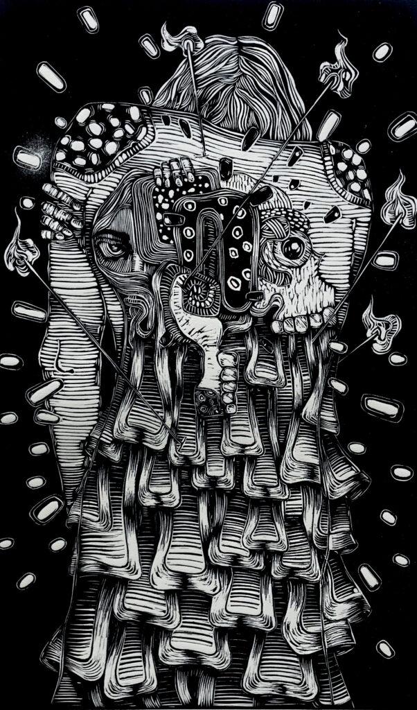 """""""La batalla""""     Amarildo Olmedo.    Neolite: Impresión 46 x 28 cm; Papel 56 x 38 cm     -Carpeta muerta-"""