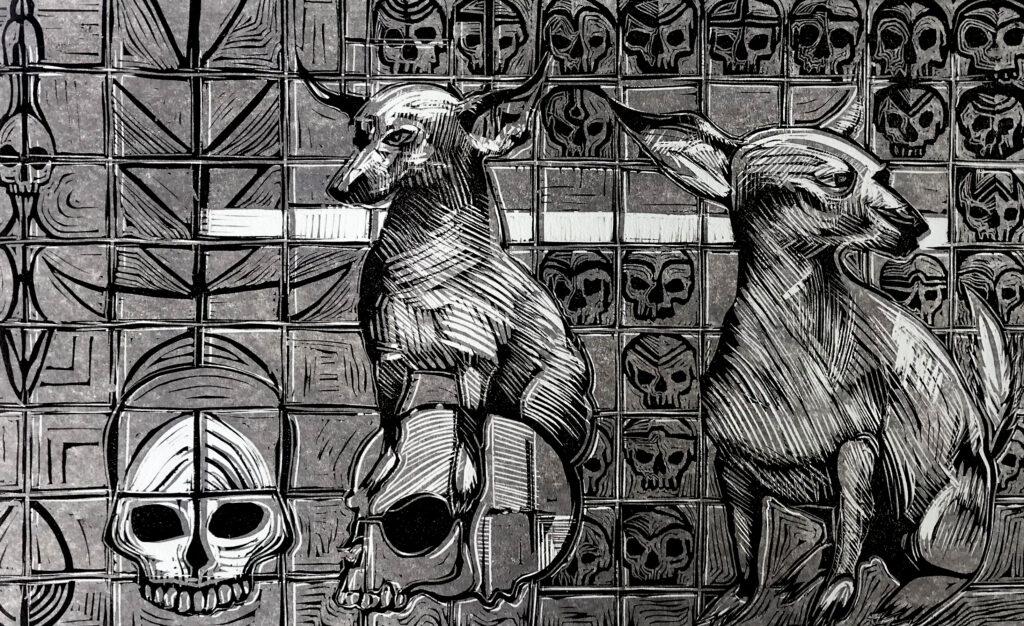"""Nahui""     Guillermo Pacheco.     Neolite: Impresión 28 x 46 cm; Papel 38 x 56 cm     -Carpeta muerta-"