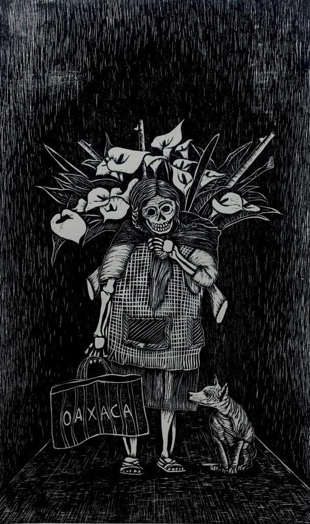 """""""Catrina Oaxaqueña""""     Fernando Beta.     Xilografía: Impresión 46 x 28 cm; Papel 56 x 38 cm     -Carpeta muerta-"""