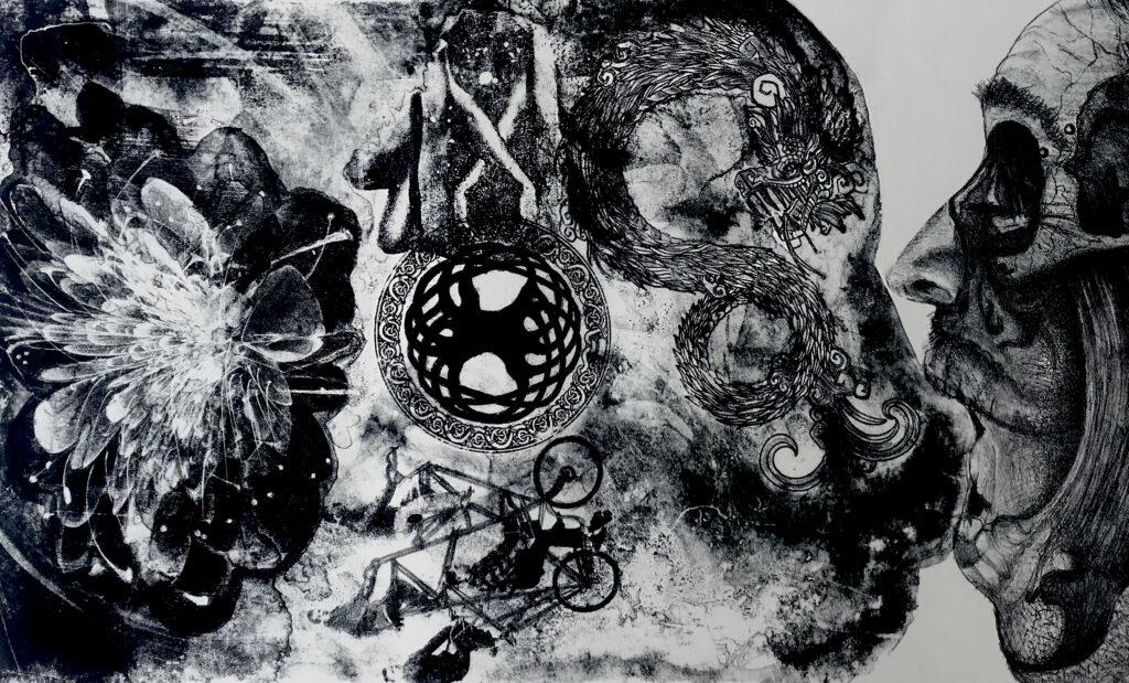 """""""La eternidad, el infinito y más allá""""     Abraham Torres.     Litografía: Impresión 28 x 46; Papel 38 x 56 cm   -Carpeta muerta-"""