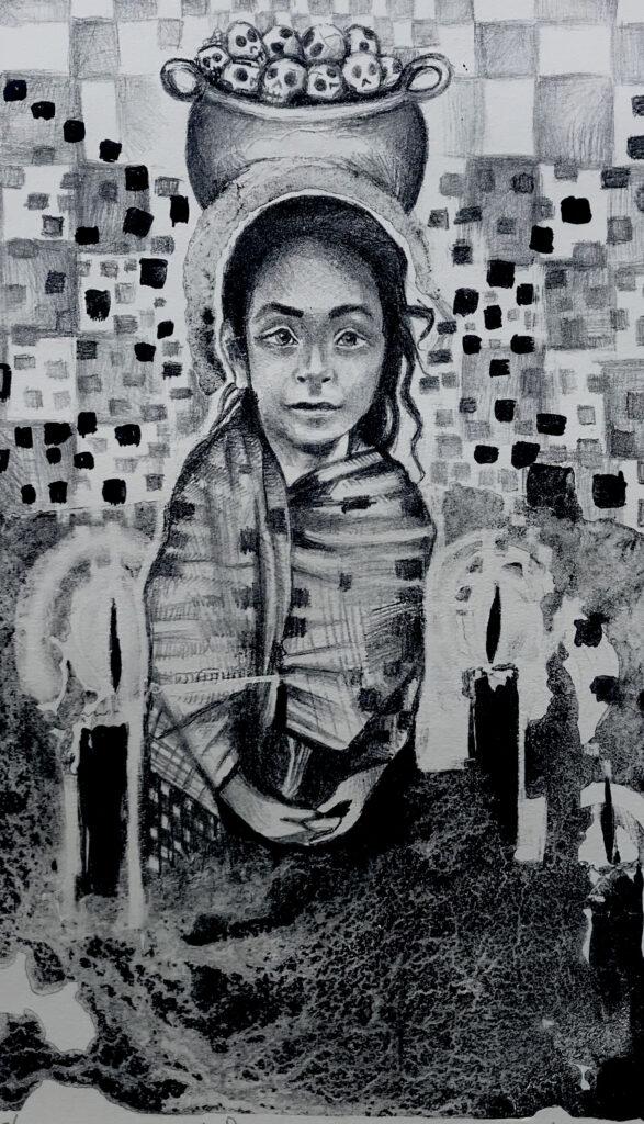 """""""Ánima ambulante""""     Antonio Valencia. Litografía: Impresión 46 x 28 cm; Papel 56 x 38 cm     -Carpeta muerta-"""