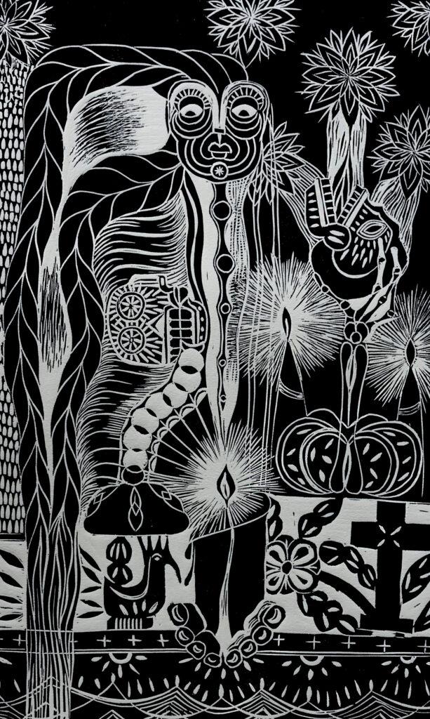 """Convivir""     Abel Vásquez. Lineografía: Impresión 46 x 28 cm; Papel 56 x 38      -Carpeta muerta-"