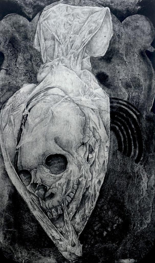 """Sin título""     Humberto Vásquez.    Litografía: Impresión 46 x 28 cm; Papel 56 x 38 cm""     -Carpeta muerta-"