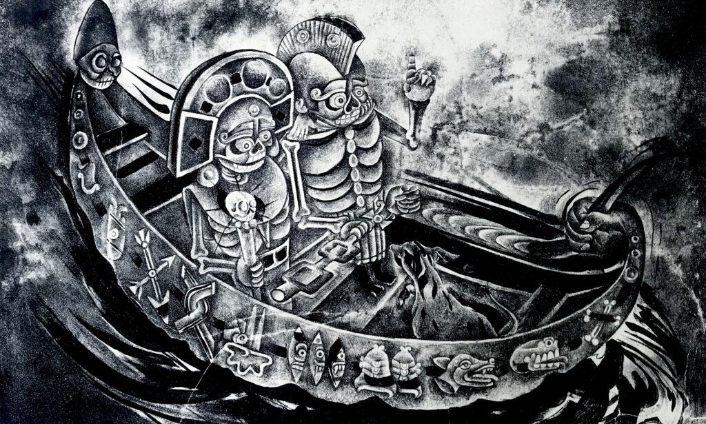 """""""El viaje""""     Viyegax     Litografía: Impresión 28 x 46 cm;Papel 38 x 56 cm     Carpeta muerta-"""