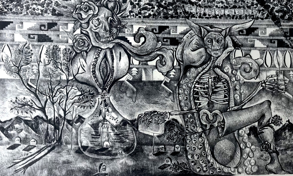 """Puertas al inframundo""     Yamilet Asilem.    Litografía: 28 x 46 cm.    -Carpeta muerta-"