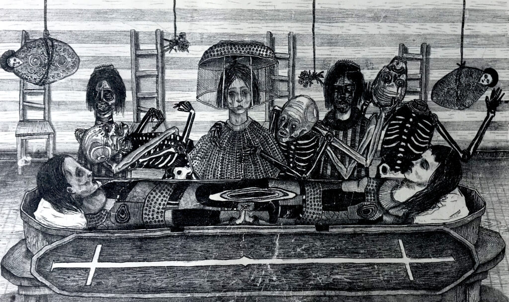 """Noches eternas ""     Emmanuel Yost      Litografía: Impresión 28 x 46 cm; Papel 38 x 56 cm""    -Carpeta muerta-"