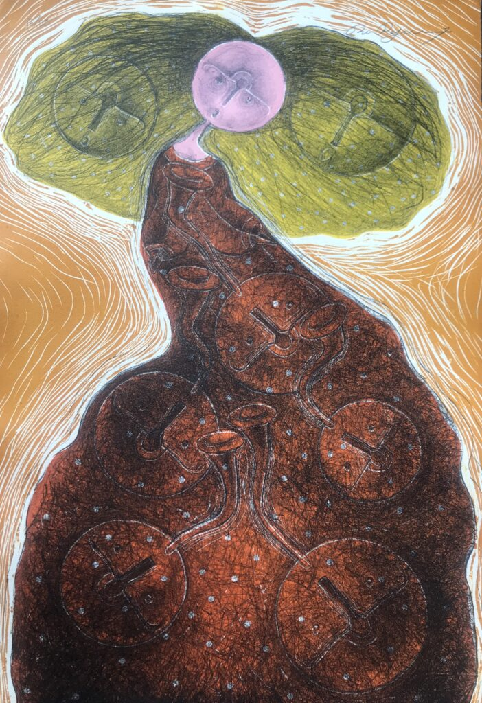 """Rolando Rojas. Litografía 56 x 37 cm """"Sin título"""" -Carpeta proyecto bienal"""""""