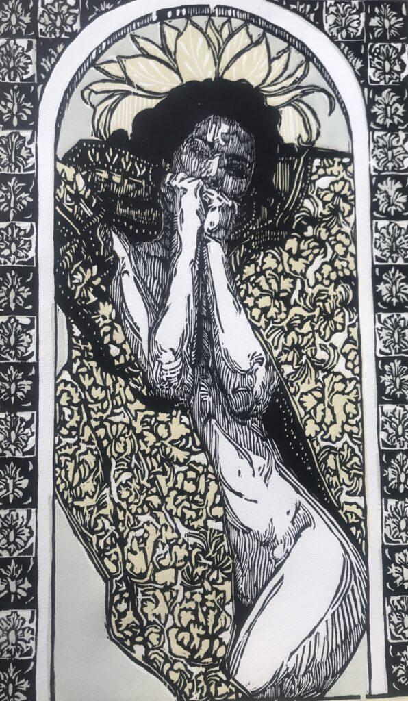 """Alán Altamirano. Xilografía: Impresión 52 x 32 cm; Papel 56 x 38 cm""""Carola""""-Carpeta proyecto bienal-"""