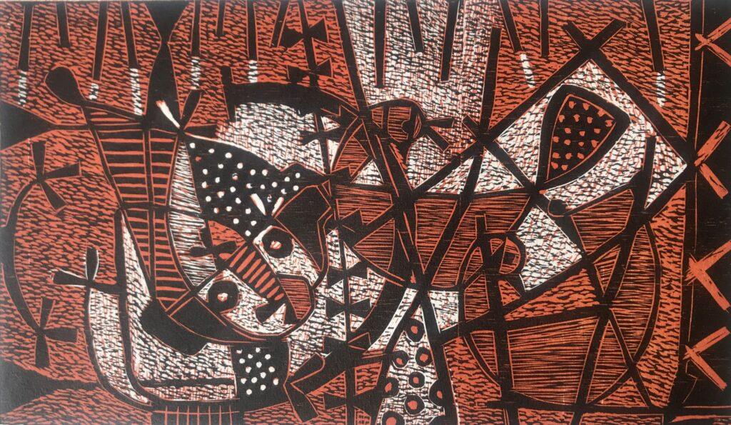 """Fulegencio Lazo. Grabado Impresión 26 x 44 cm Papel 38 x 56 cm """"Noche de pláticas"""" -Carpeta proyecto bienal-"""