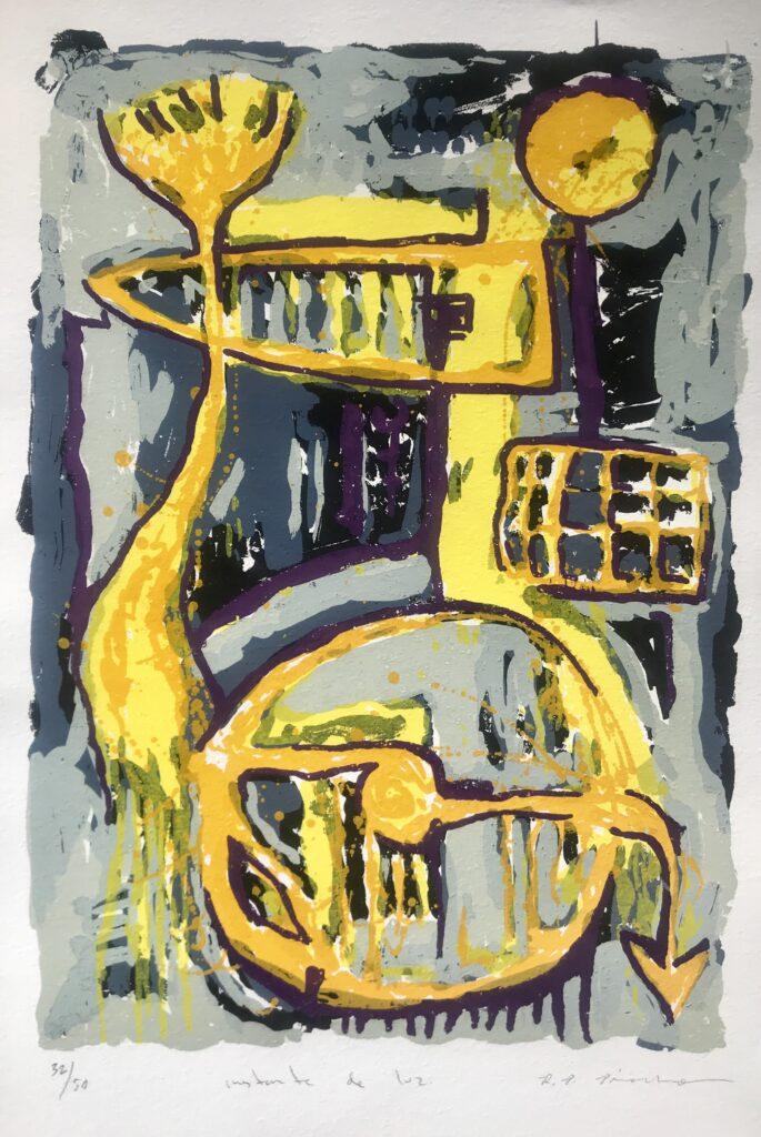 """Rosendo Pinacho.  Litografía Impresión 47 x 34 cm Papel 56 x 38 cm """"Instante de luz"""" -Carpeta proyecto bienal-"""