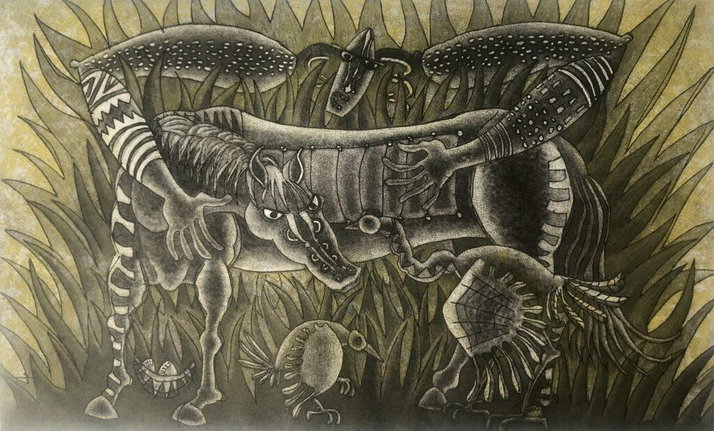 """Ixrael Montes. Grabado Impresión 48 x 30 cm Papel 56 x 38 cm """"Ciénaga"""" -Carpeta proyecto bienal-Takeda"""