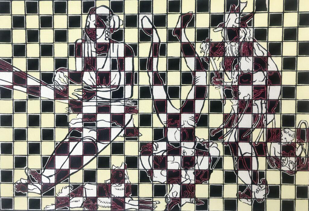 "Shinzaburo Takeda. | Xilografia  Impresión 30 x 44 cm; Papel 38 x 56 cm   |  ""Sin título""-Carpeta proyecto bienal"""