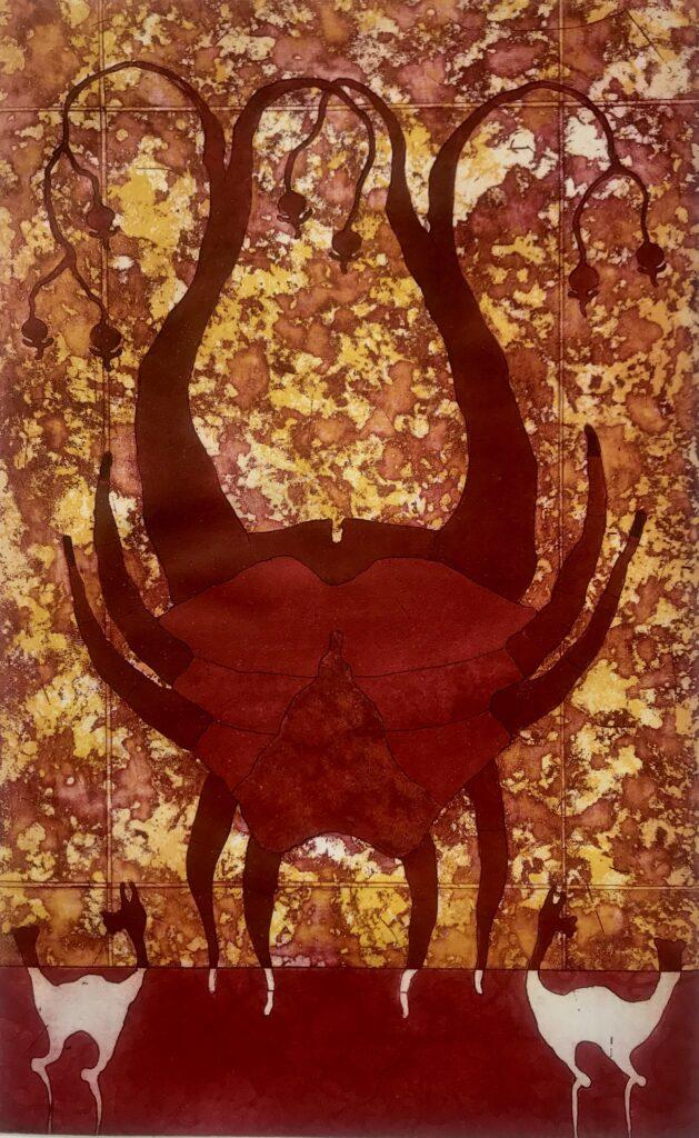 "Saúl Castro.  Grabado: Impresión 48 x 30 cm; Papel 56 x 38 cm""Mazunte""-Carpeta proyecto bienal"""