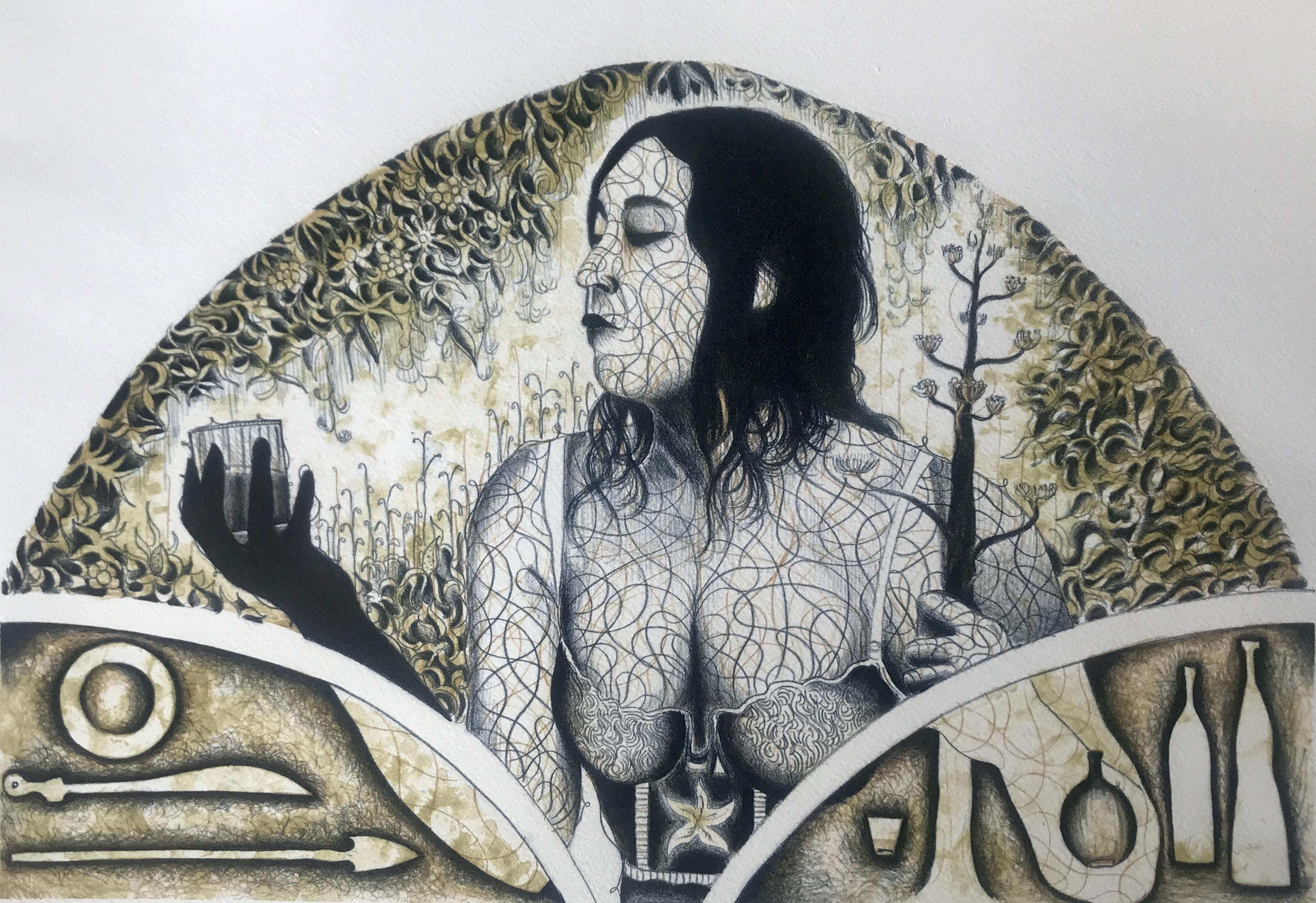 """Alán Altamirano. Litografía Impresión 46 x 30 cm Papel 56 x 40 cm """"Una copita"""" -Carpeta mezcal-"""