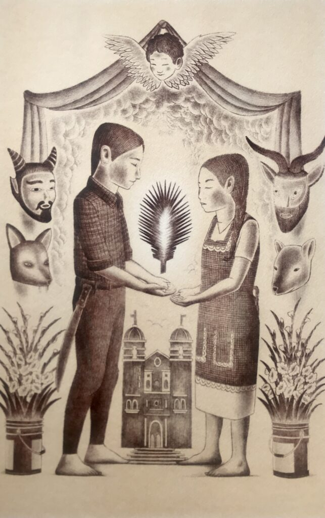 Alberto Cruz. Litografía Impresión 46 x 30 cm Papel 56 x 40 cm Madre Cuish -Carpeta mezcal-