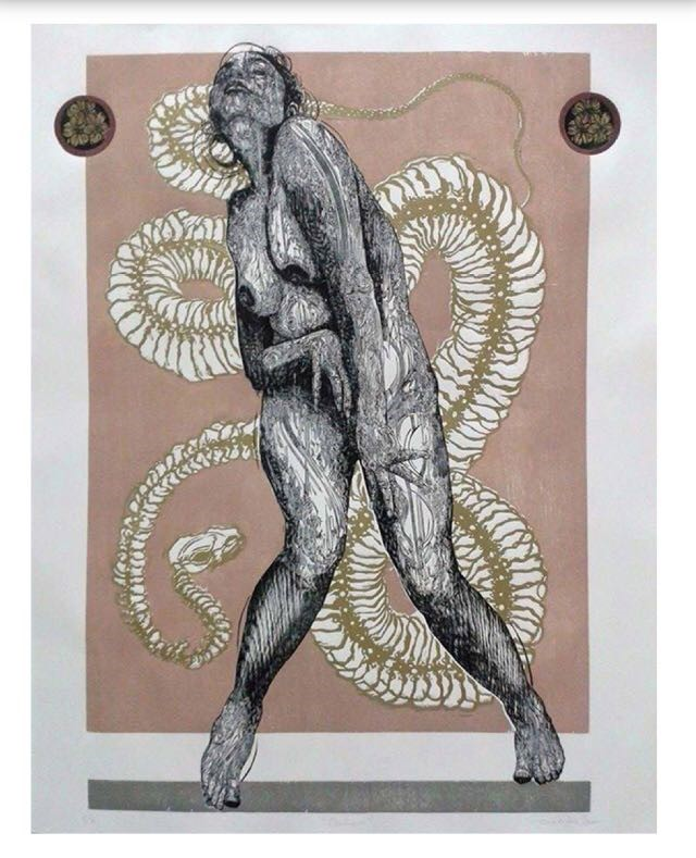 PIEZA CON MENCIÓN HONORÍFICA 4TA BIENAL TAKEDA Iván bautista | Xilografía  130 x 100 cm