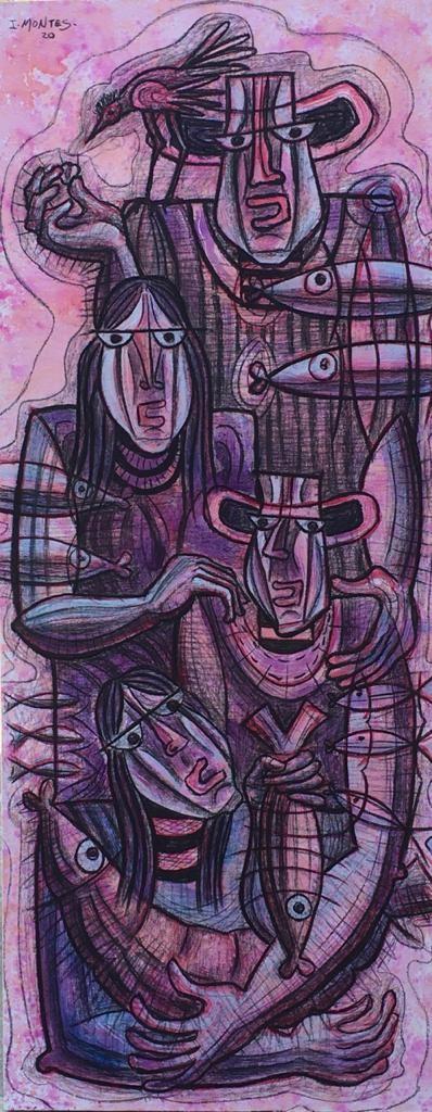 """Familia en rosa""  |  Ixrael Montes  |  Oleo sobre tela  1.50 x 60 cm"