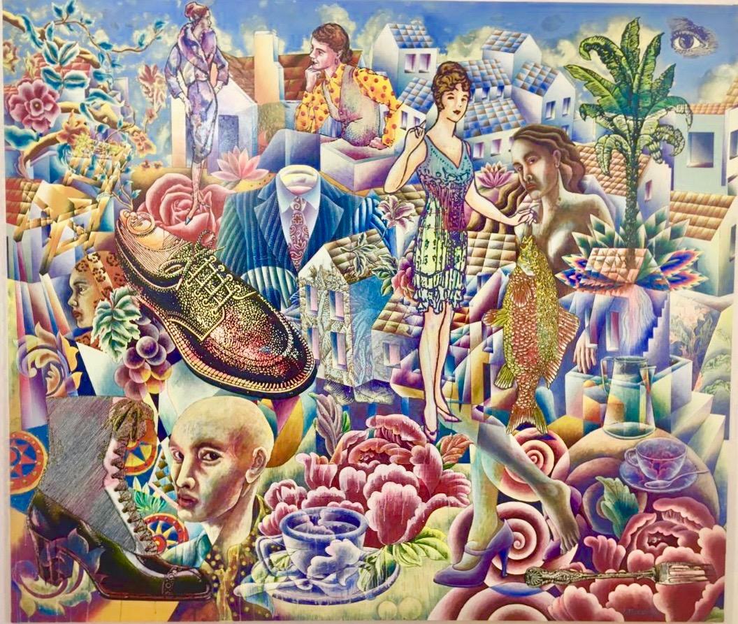 """Artista: Eddie Martínez, Titulo: """"Autos, Moda y Rock and Roll"""", Técnica: Acrílico sobre lino, Medidas: 210 x 240 cm"""