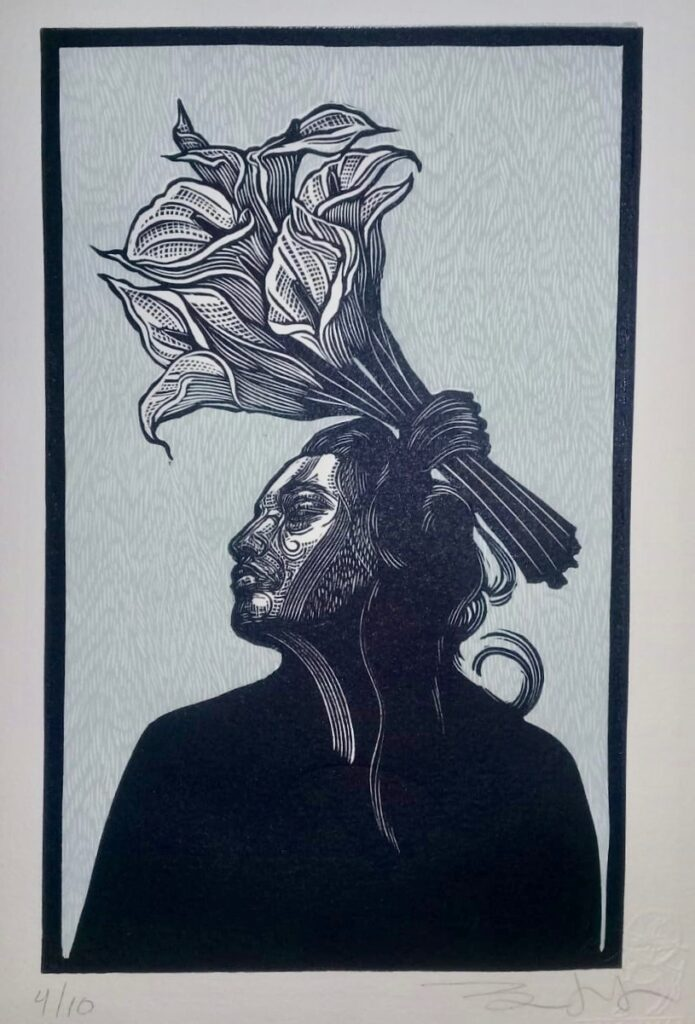 """Sin título""  |  Iván Bautista  |    Xylografía,  Papel 28 x 168.5 cm.  Impresión 21 x 14.2 cm."