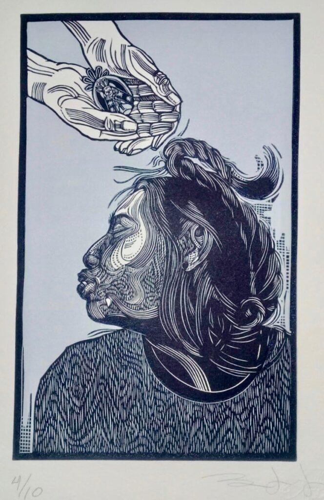"""Sin título""  |  Iván Bautista  |   Xylografía, Impresión 21x 13.2 cm, Papel 28x16 cm"