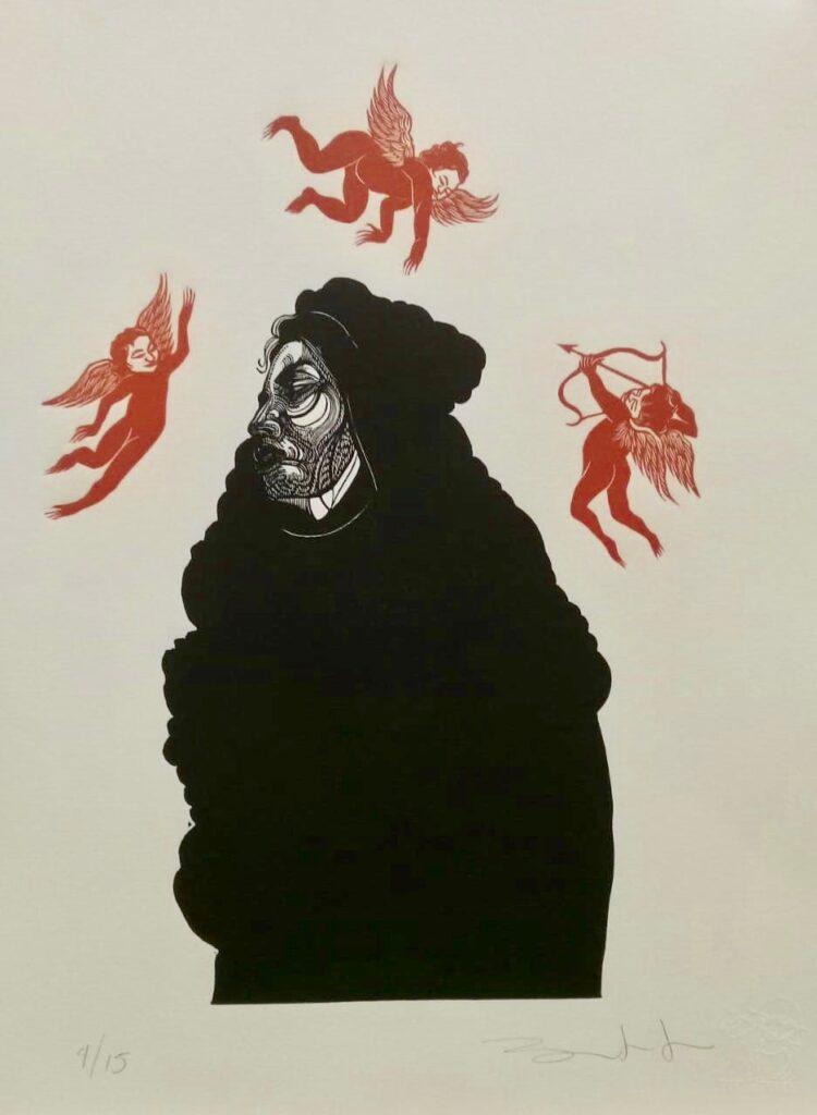 """Sin título""  |  Iván Bautista  |  Xylografía: Impresión 31x 21 cm; Papel 38x28 cm."