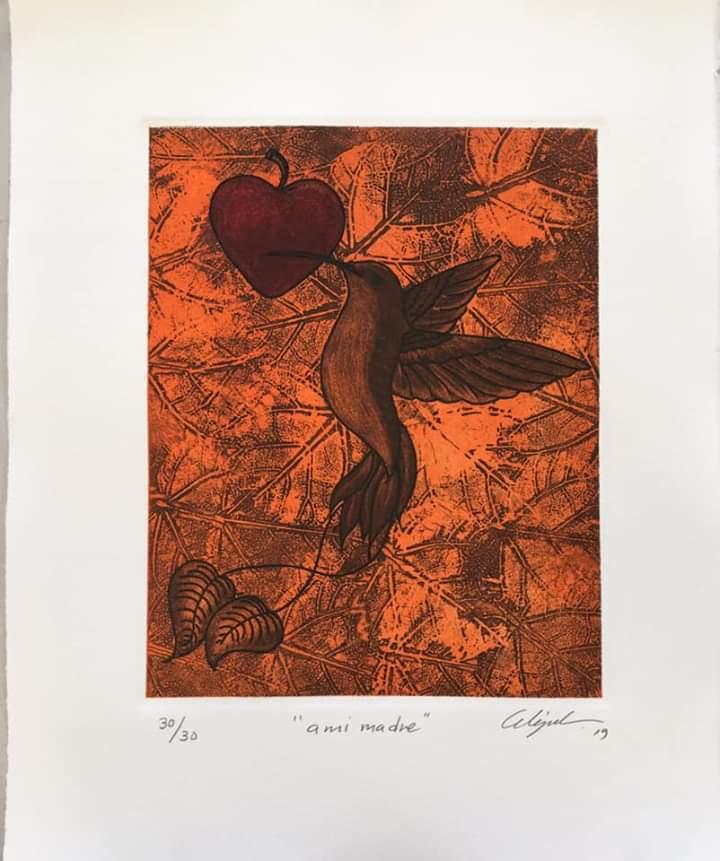 """""""A mi madre""""     Alejandro Martínez.     Grabado: Impresión 24 X19 cm; Papel 34 x 29 cm"""