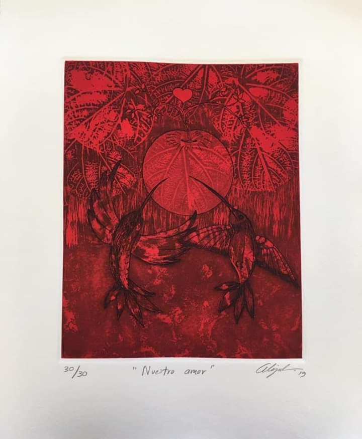 """""""Nuestro amor""""     Alejandro Martínez.    Grabado: Impresión 24 x 19 cm; Papel 34 x 29 cm"""