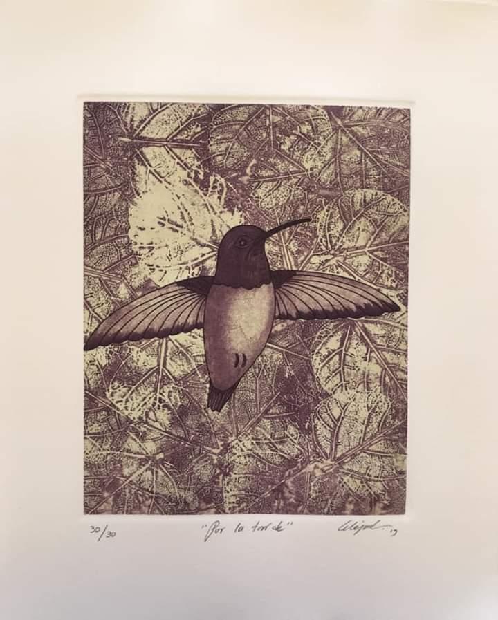 """""""Por la tarde""""     Alejandro Martínez.    Grabado; Impresión 24 x 19 cm; Papel 34 x 29 cm"""